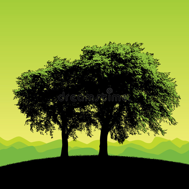 Trees silhouetted on hillside. Illustration of two trees silhouetted on hillside with green background. Also available in vector format stock illustration