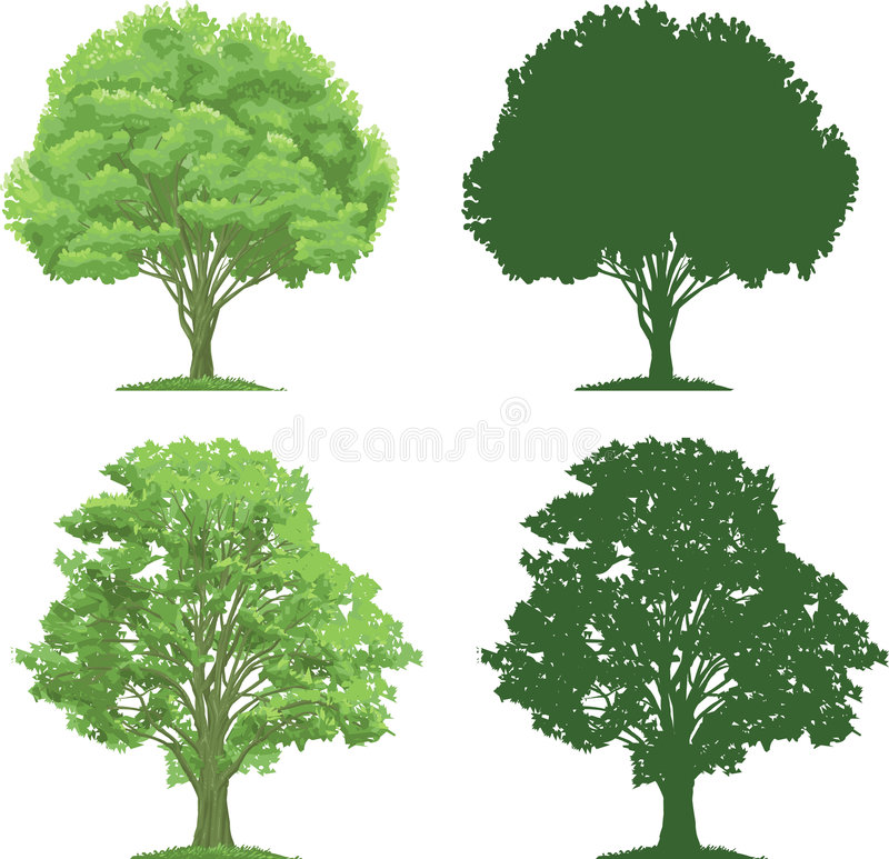 Trees and Silhouettes royalty free illustration
