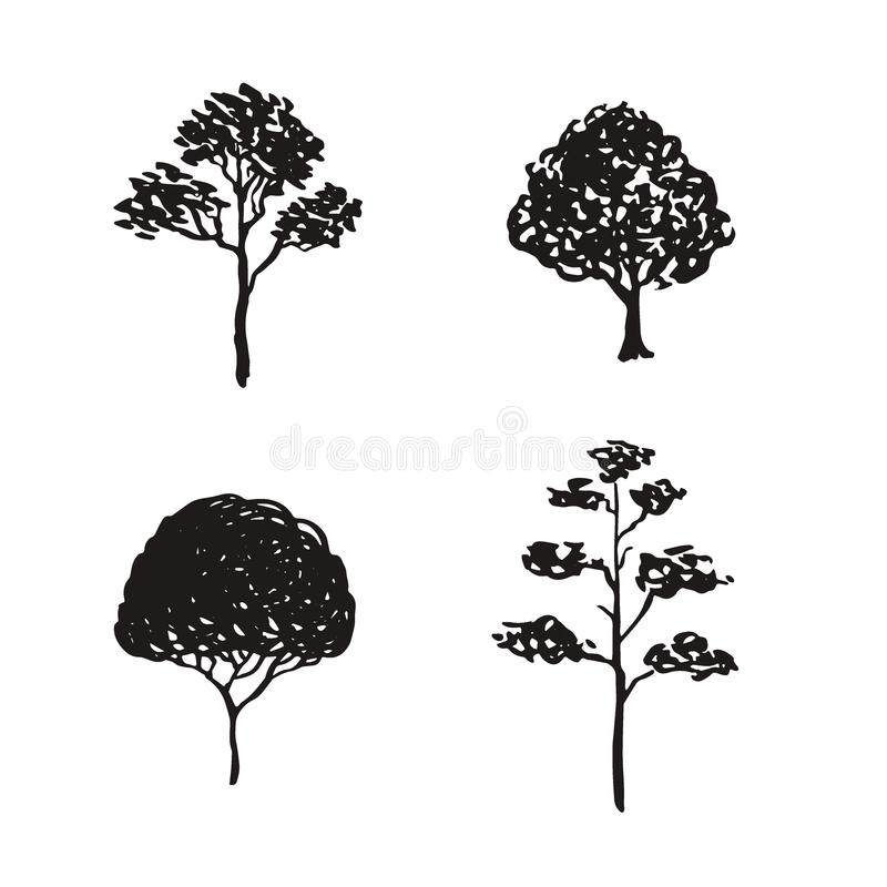 Trees sketched illustration. Hand drawn isolated natural elements. Black silhouette icons. Trees sketched illustration. Hand drawn isolated natural elements stock illustration