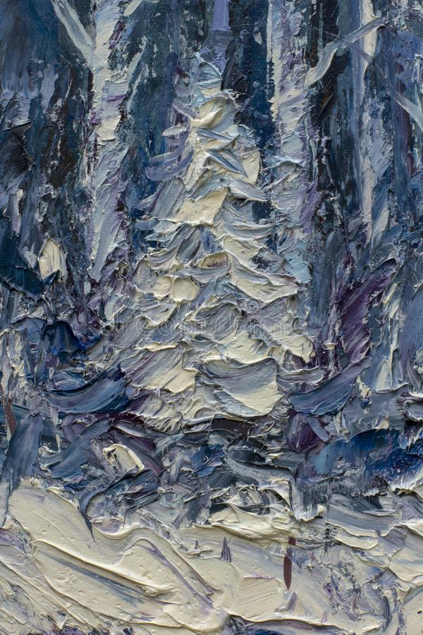 Trees in the snow - oil painting on canvas. White snow Christmas tree - a palette knife impasto fragment of modern oil painting on canvas fine art concept royalty free stock photo