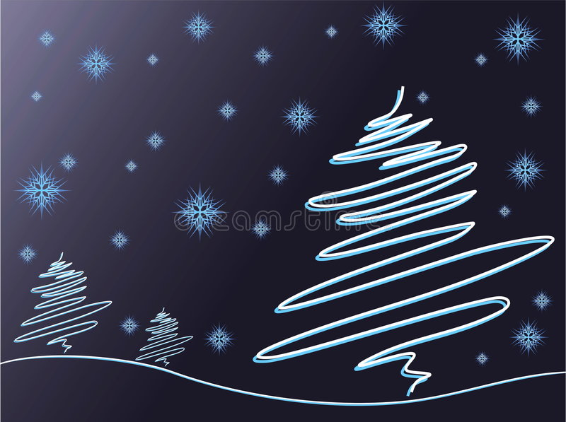 Download Trees and snowflakes stock vector. Illustration of flower - 3892762