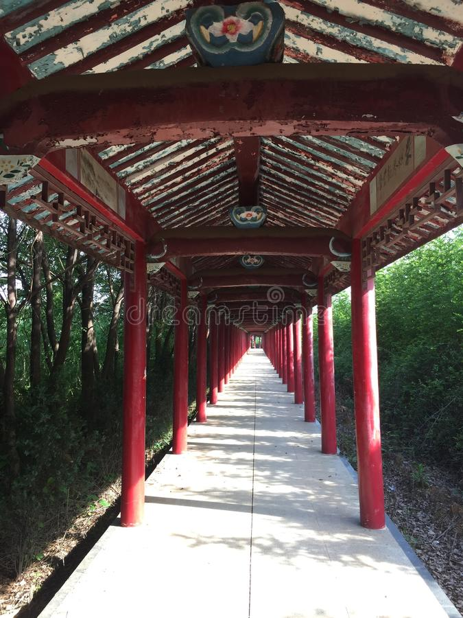 Ancient corridor. The trees sprinkled on the ancient promenade, red wooden posts stock images