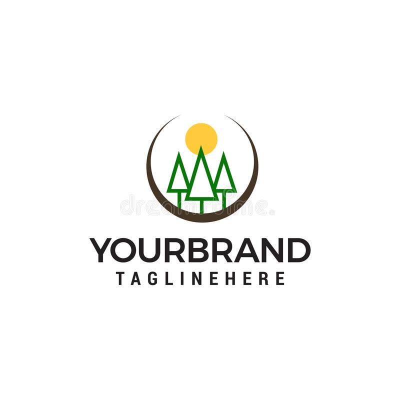 Trees and Sun logo, . Forest care green concept design template stock illustration
