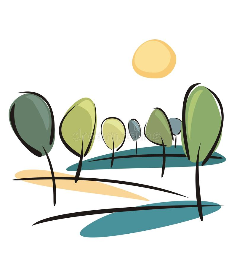 Trees at sunny spring day vector illustration. Spring or summer trees on the hill at sunny day vector illustration. Landscape with grove isolated on white vector illustration