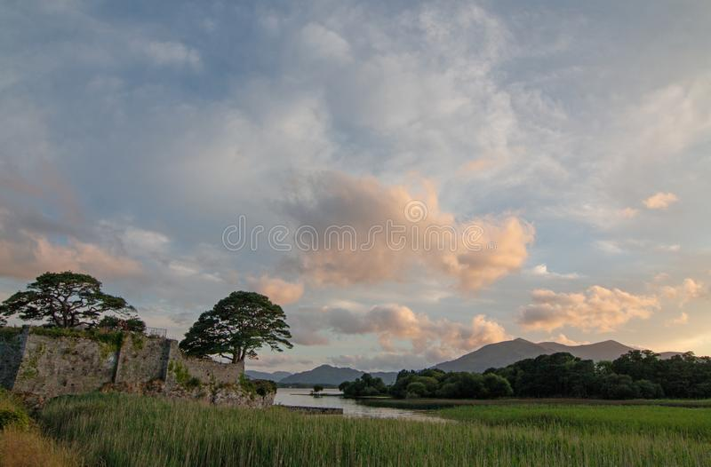 Trees at sunset at McCarthy Mor Irish castle ruins at Lough Leane on the Ring of Kerry in Killarney Ireland. IRE royalty free stock images