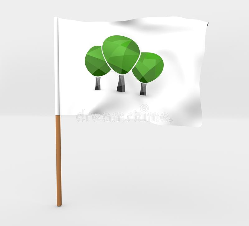 Trees symbol flag on mast 3D illustrationflag on mast 3D illustration vector illustration