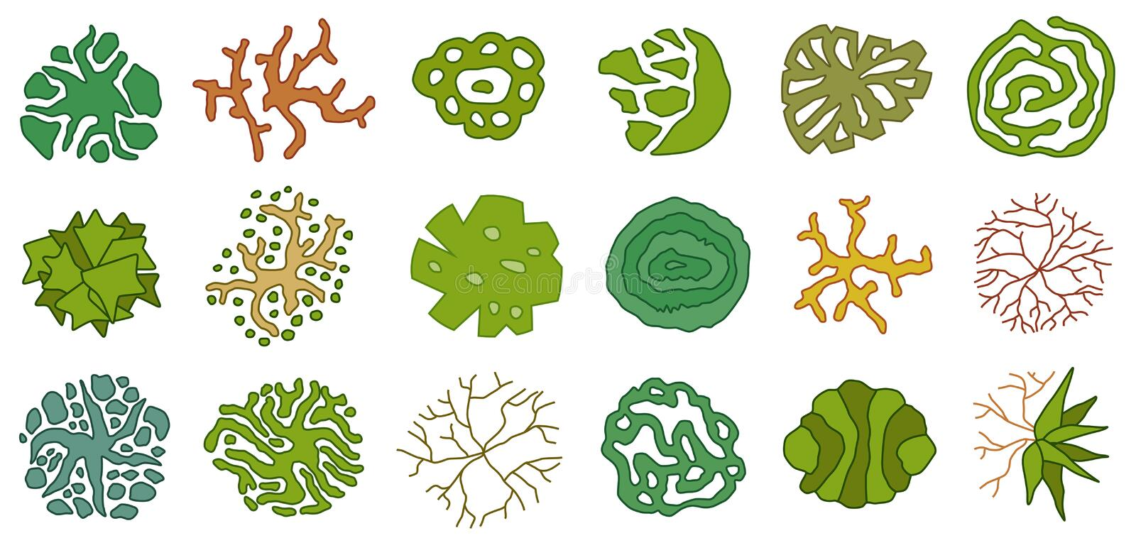 Trees top view. Different icon of plants and trees for architectural or landscape plan. View from above. Nature green spaces. Trees top view. Plants and trees stock illustration