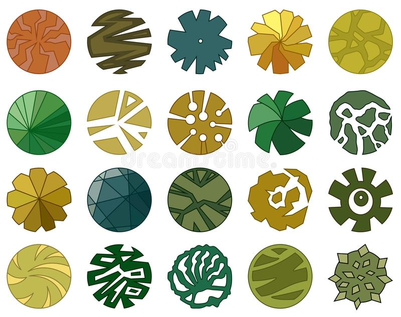 Trees top view. Different icon of plants and trees for architectural or landscape plan. View from above. Nature green spaces. Vector royalty free illustration