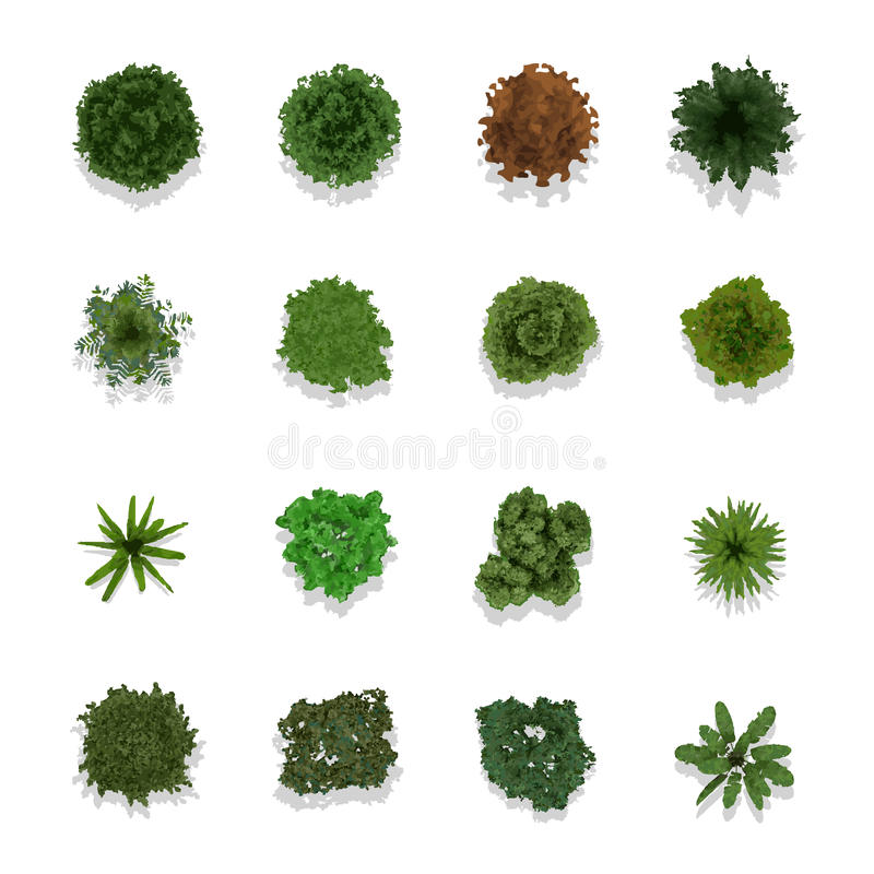 Trees top view for landscape royalty free illustration