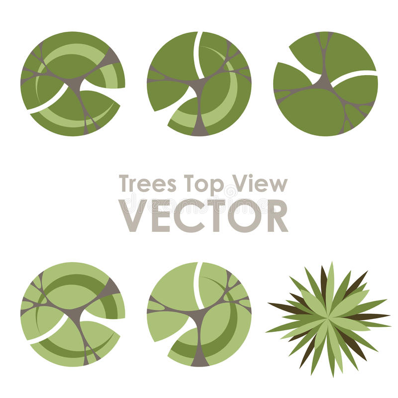 Trees top view vector icons. On white background royalty free illustration