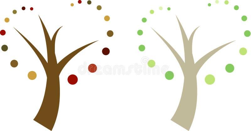 trees två för sommar för fjäder för höstfall set vektor illustrationer