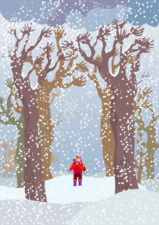 Trees which catch snow. Trees with branches - hands which catch snowflakes, and the boy standing under them stock illustration