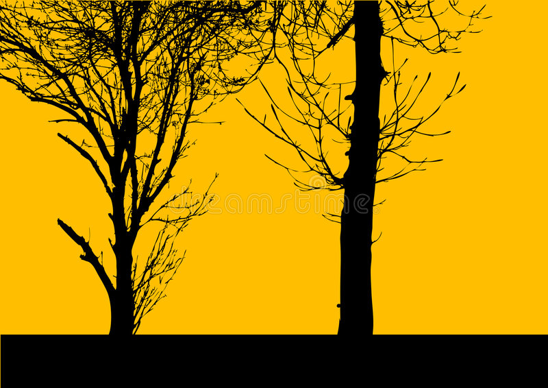 treesvektoryellow royaltyfri illustrationer