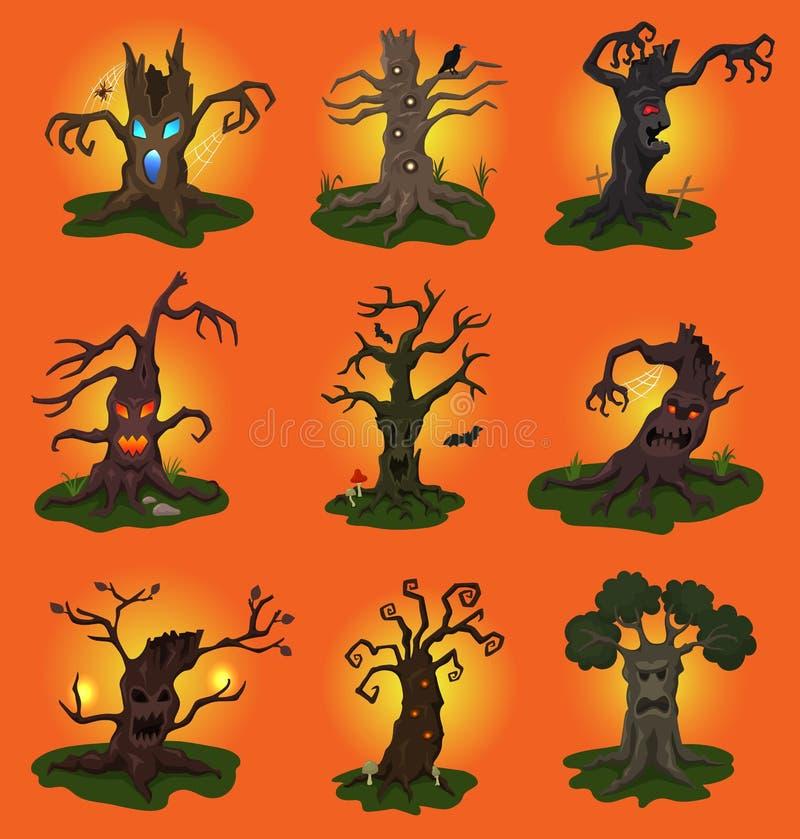 Treetops характера вектора дерева хеллоуина страшные ужаса в пугающем комплекте иллюстрации леса изверга лесохозяйства деревянног иллюстрация вектора