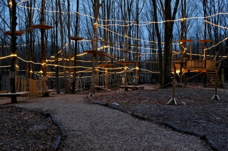 Treetops Ropes and Obstacle Course at Night royalty free stock image