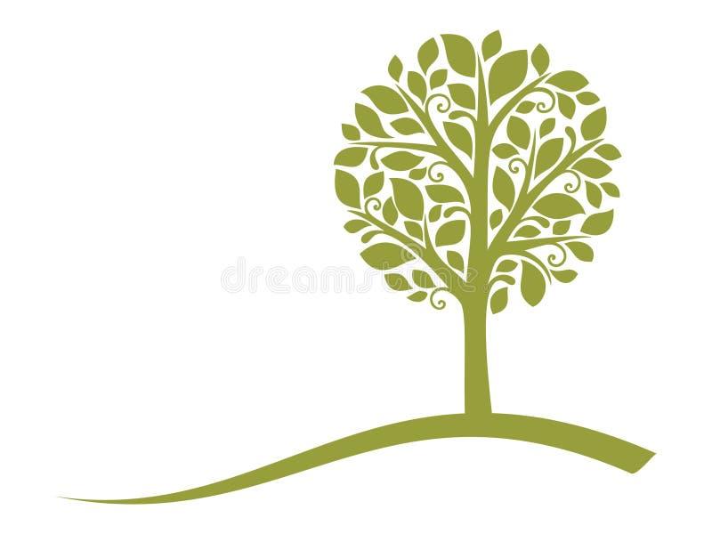 treevektor för 4 emblem vektor illustrationer