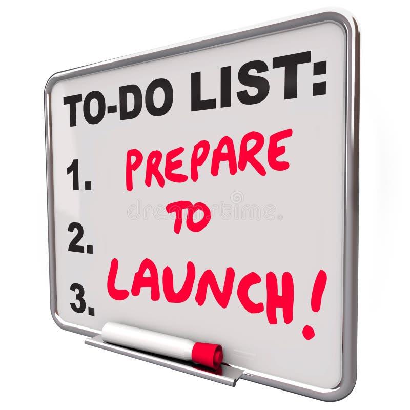 Tref voorbereidingen om Droog te lanceren wissen Raad om Zaken van het Lijst de Nieuwe Bedrijf te doen vector illustratie