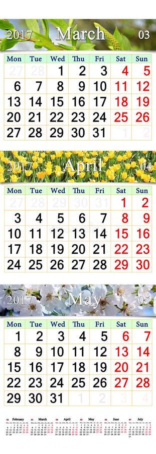 Trefaldig kalender för mars April och Maj 2017 med bilder royaltyfri bild