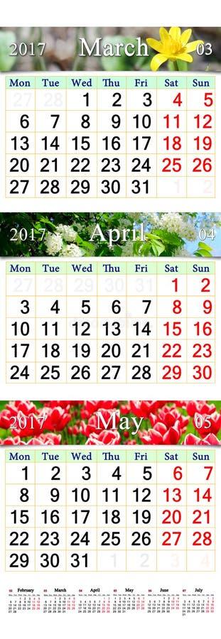 Trefaldig kalender för mars April och Maj 2017 med bilder royaltyfria bilder
