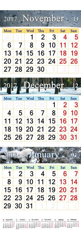Trefaldig kalender för November December 2017 och Januari 2018 royaltyfria bilder