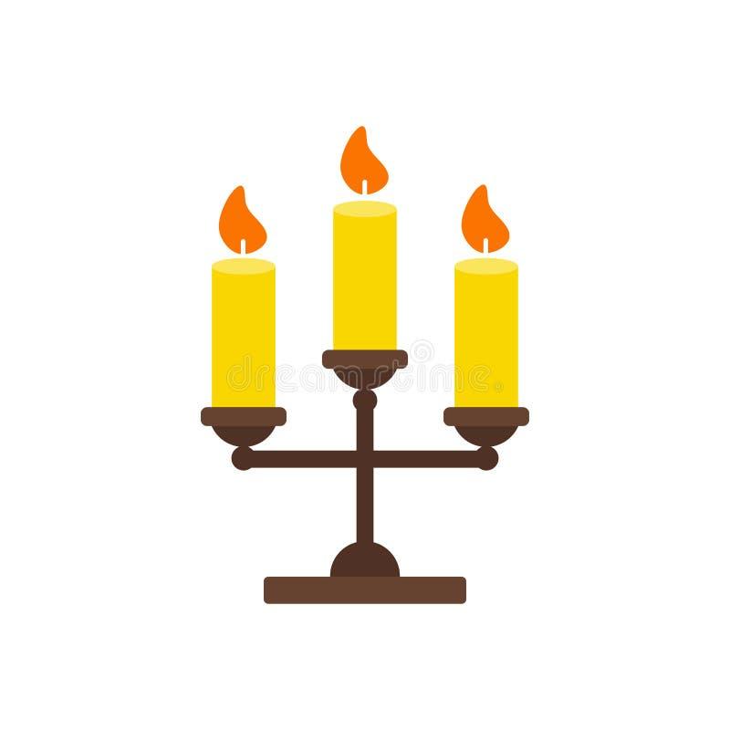 Trefaldig ljusstake med den stearinljus isolerade symbolen royaltyfri illustrationer
