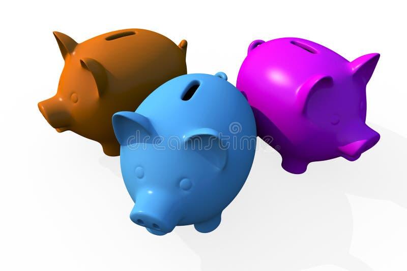 Trefaldiga besparingar - Pigs stock illustrationer