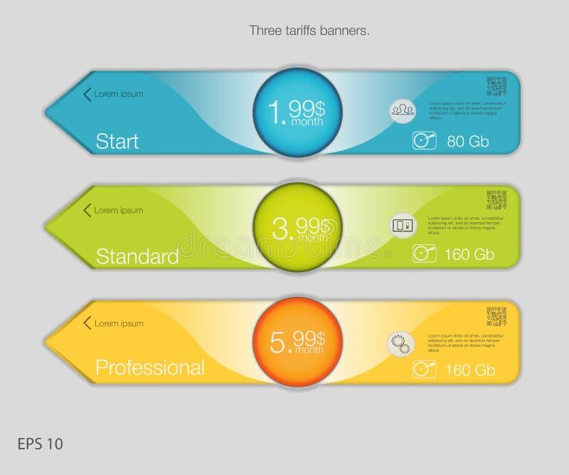 Trefaldigt baner för att vara värd Tre tariffbaner Rengöringsdukprissättningtabell Vektordesign för rengöringsduken app Pilstil vektor illustrationer