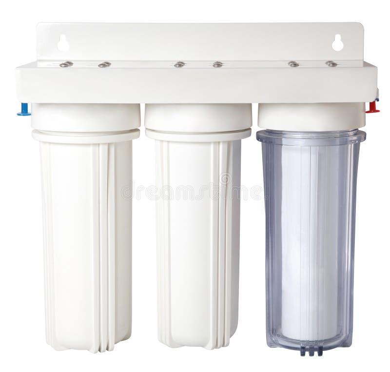 Trefaldigt vattenlokalvårdfilter för vattenbehandling som isoleras på vit royaltyfri fotografi