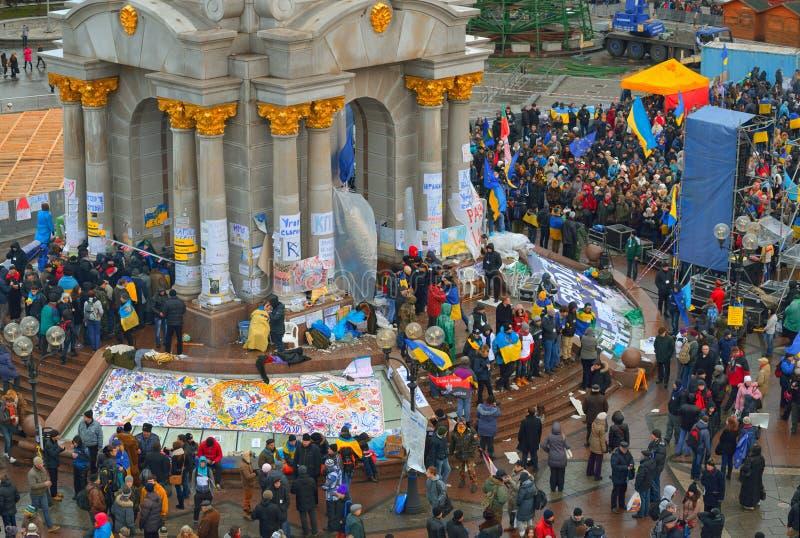 Treffen auf dem Maidan Nezalezhnosti. Kiew. Ukraine lizenzfreie stockfotografie