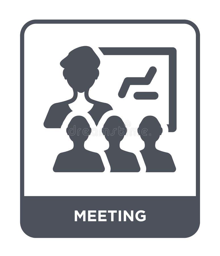 Treffen der Ikone in der modischen Entwurfsart Sitzungsikone lokalisiert auf weißem Hintergrund Symbol der Vektorikone treffen ei lizenzfreie abbildung