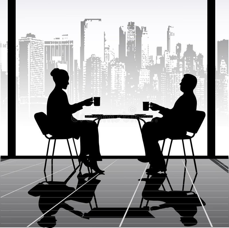 Treffen im Café lizenzfreie abbildung