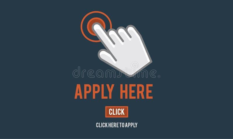 Treffen Sie anwenden hier on-line--Job Concept zu lizenzfreie abbildung