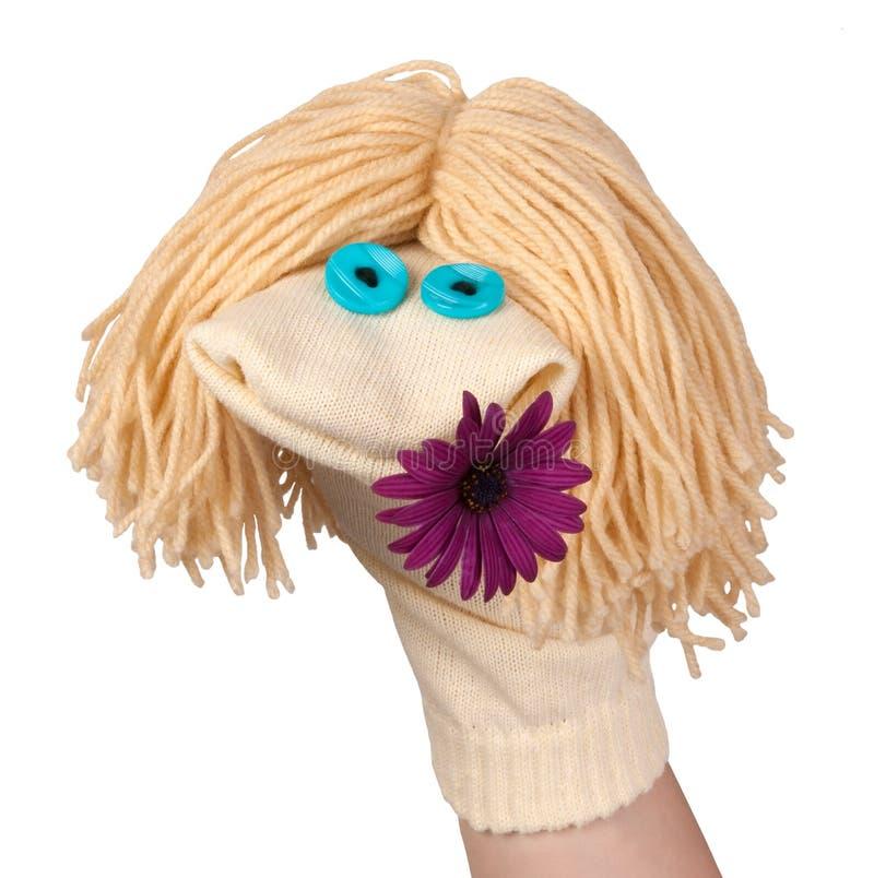Treffen Sie Marionette mit einer Blume hart stockbilder