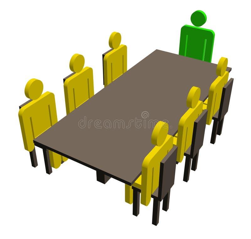 Treffen um eine Tabelle stock abbildung
