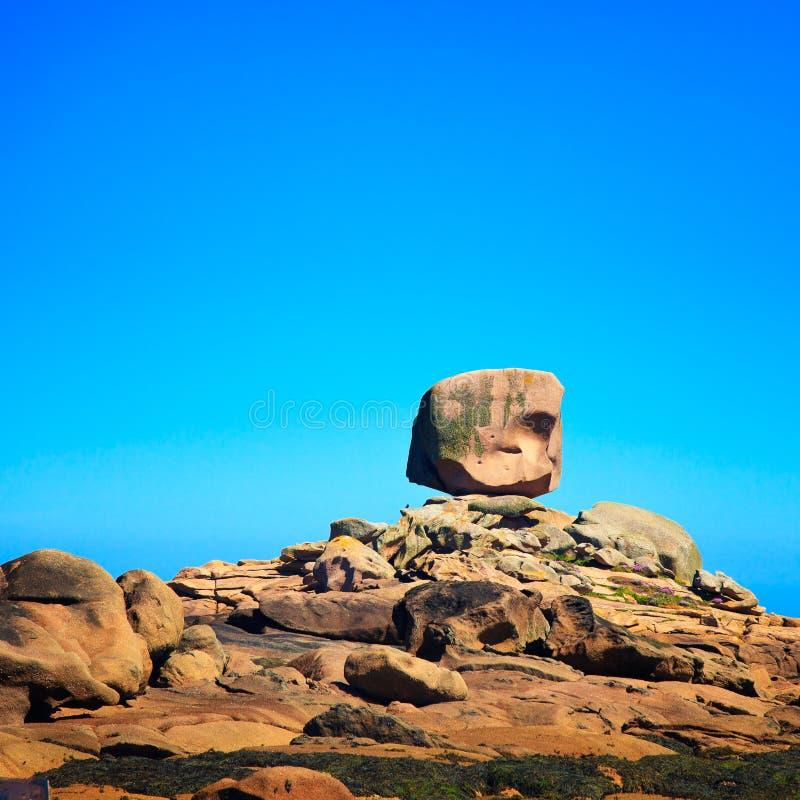 Tregastel, the dice rock in pink granite coast, Brittany, France. Tregastel, the dice or le de rock in pink granite coast. Armor coast les rochers, Brittany stock image