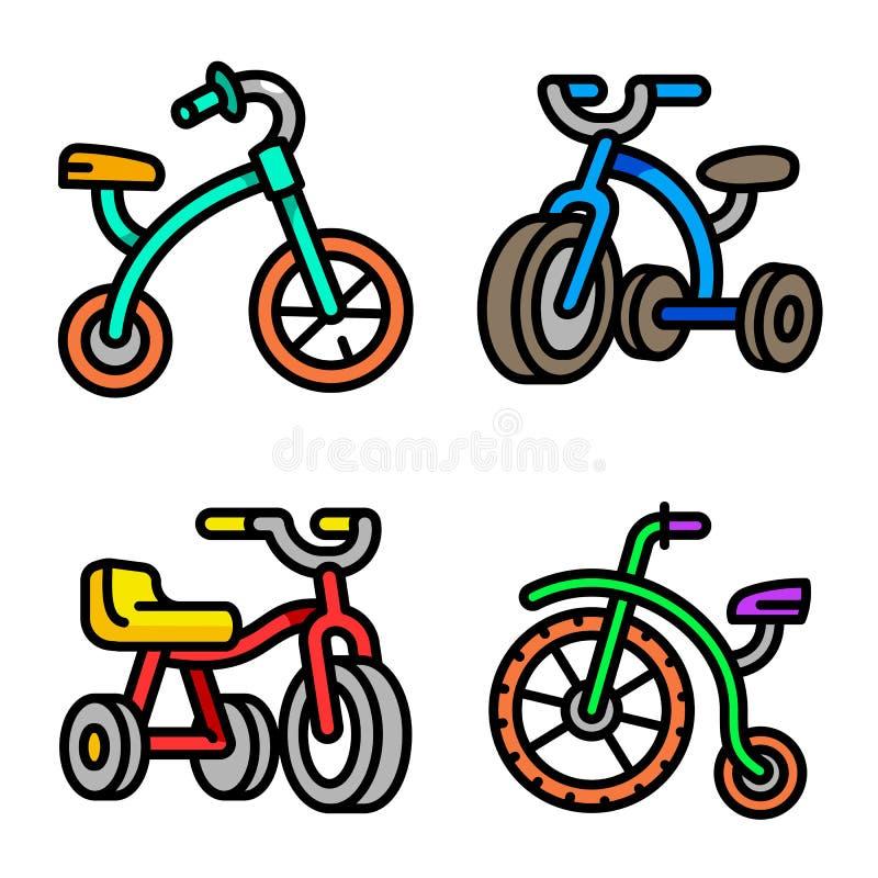 Trehjulingsymbolsuppsättning, översiktsstil vektor illustrationer