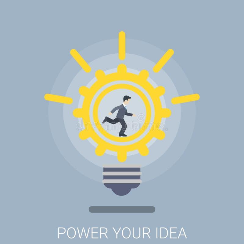 Treiben Sie Ihren der modernen flachen isometrischen Vektor 3d Innovations-Birne der Idee an lizenzfreie abbildung