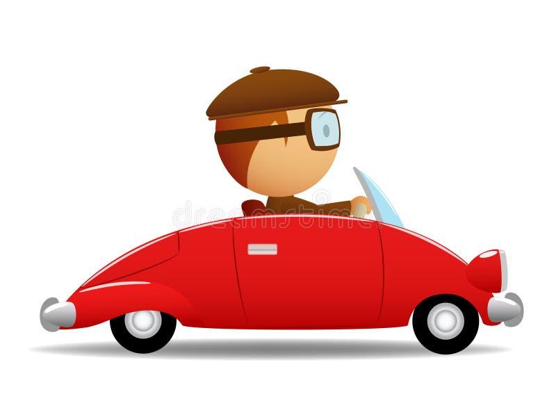 Treiber im roten Auto stock abbildung