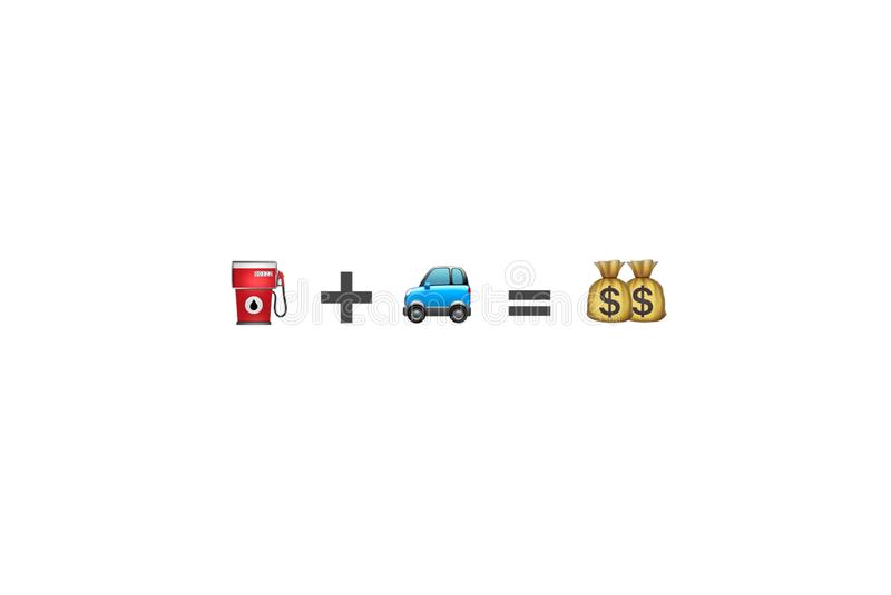 Treibstoffbrennstoff plus grafische Ressource der Autofahrzeuggleichgestelltgeld-Gleichung stockfotos