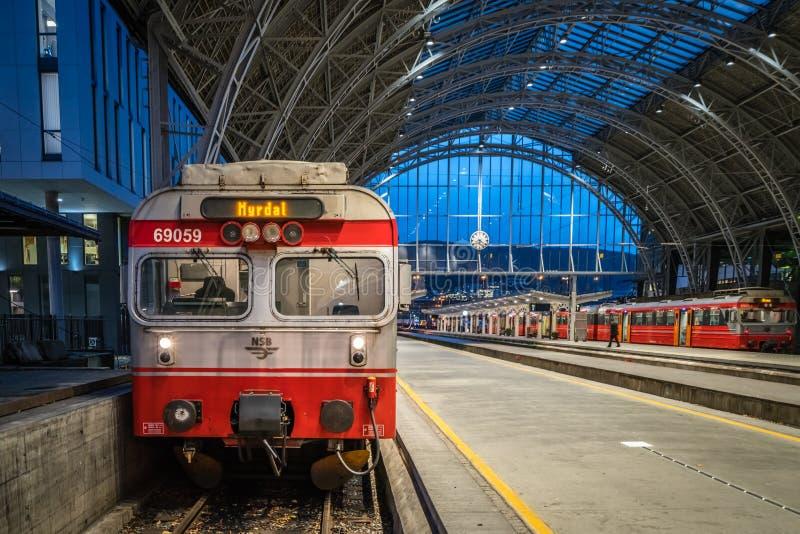 Trein bij het station in de stad van Bergen in Noorwegen stock afbeeldingen