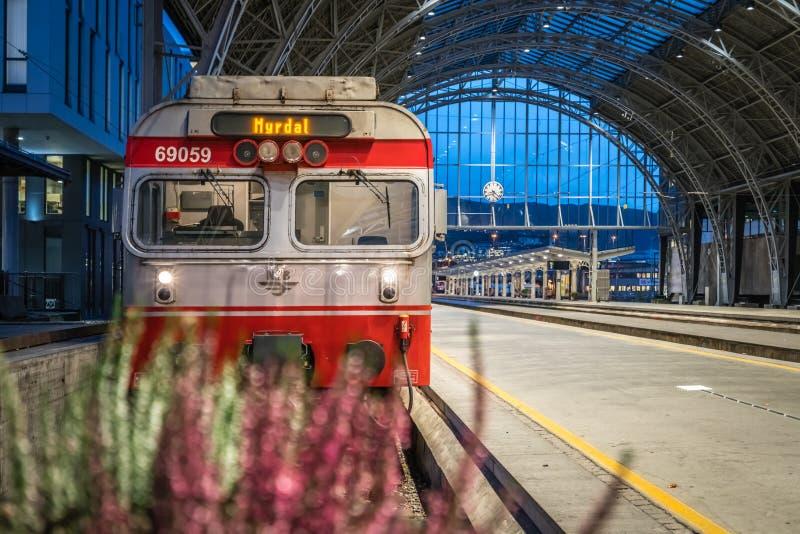 Trein bij het station in de stad van Bergen in Noorwegen royalty-vrije stock afbeeldingen