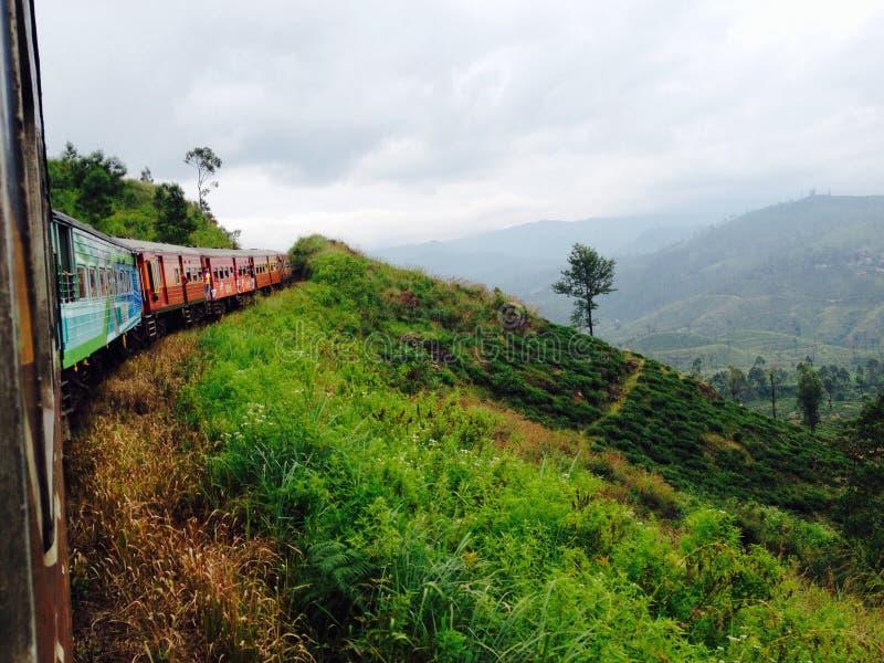 Trein in de heuvels royalty-vrije stock foto's