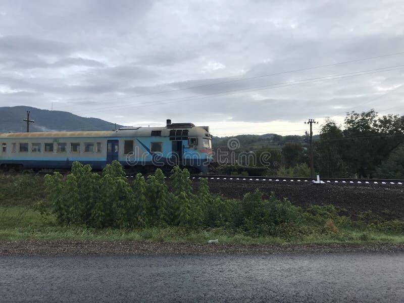 Trein in de Oekraïne stock afbeelding