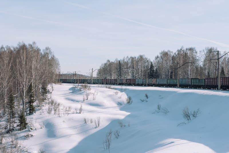 Trein in de winter Trein in de winter Trein bij snelheid royalty-vrije stock foto