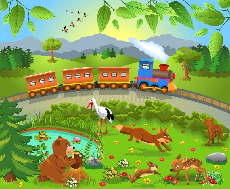Trein die door wilde dieren overgaan stock illustratie