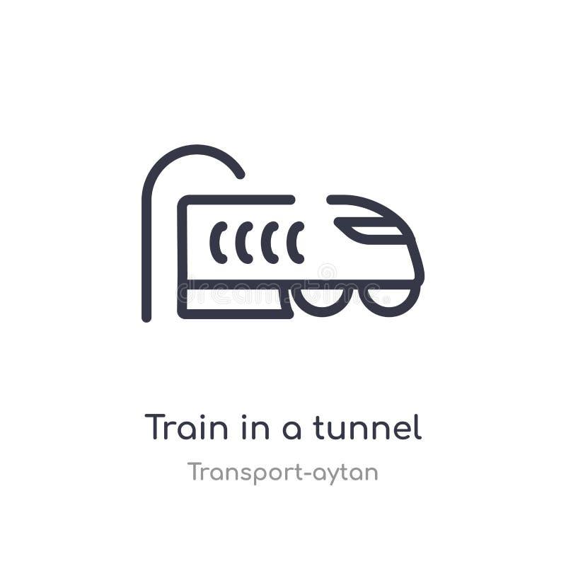 trein in een pictogram van het tunneloverzicht E editable dunne slagtrein in a vector illustratie
