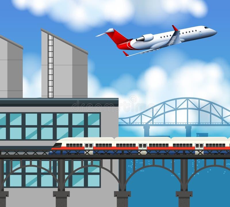 Trein en luchthavenscène royalty-vrije illustratie