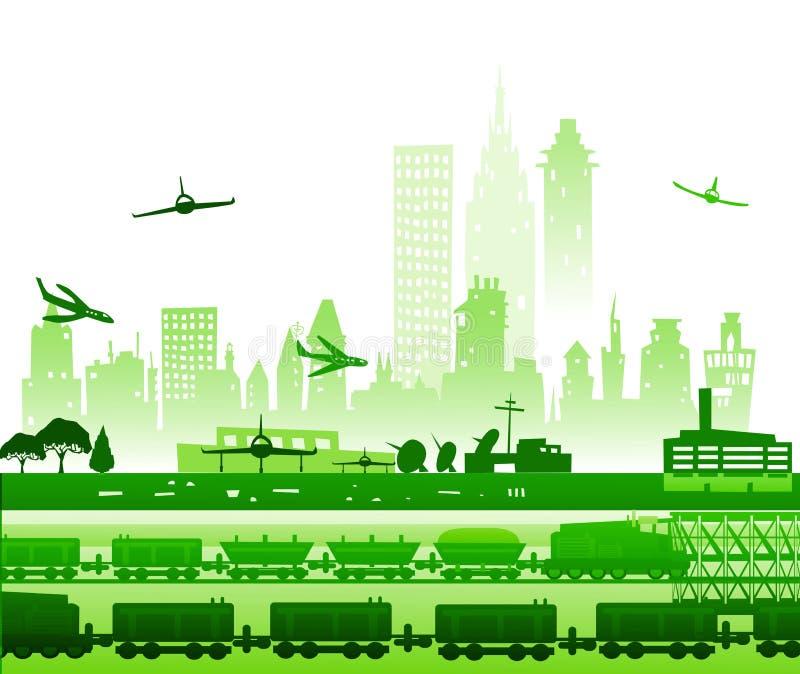 Trein het doornemen de stad, en vliegtuigen die in luchthaven gaan zijn geland Industriële illustratie royalty-vrije illustratie