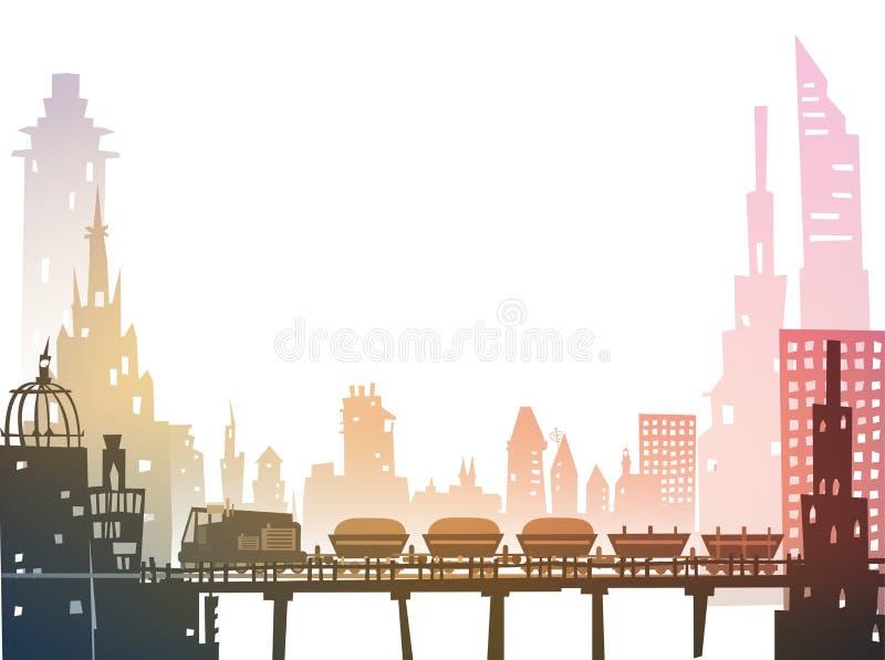 Trein het doornemen de stad, industriële illustratie stock illustratie