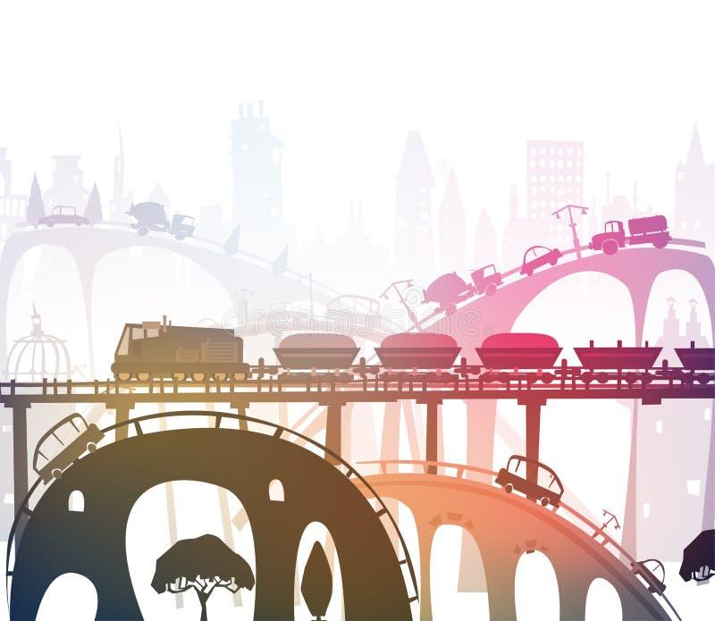 Trein het doornemen de stad, industriële illustratie royalty-vrije illustratie